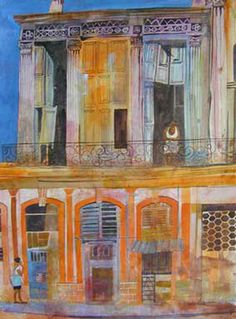 Building Art, House Landscape, Naive Art, Art Themes, Mixed Media Art, Wall Decor, Watercolor, Quilts, Contemporary