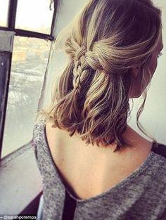 18 Easy Braids for short hair - Madame Frisuren - cheveux Easy Hairstyles For School, Long Bob Hairstyles, Trendy Hairstyles, Braided Hairstyles, Prom Hairstyles, Short Haircuts, Summer Hairstyles, Hairstyle Short, Popular Haircuts