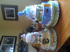 4 tier baby shower  diaper cakes