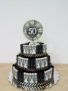 Black and Gold Money Cake love the use of 2 bills Maybe