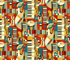 Jazz Fusion fabric by celiaforrester on Spoonflower - custom fabric - WINNER NUMBER 1 of the Jazz Design Contest! Congratulations! I totally Love this design :-)