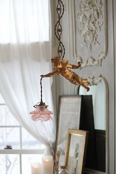 French antique hanging lamp - angel with rose.