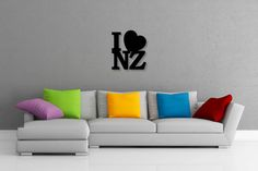 This listing is for one brand new CNC router cut I Love NZ wall art piece, made of thick aluminium composite material (ACM), created by Doozi. Composite Material, Cnc Router, Wall Art Decor, Art Pieces, Colours, My Love, Home Decor, My Boo, Decoration Home