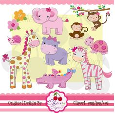 Pretty Pink Girly Jungle Animals Digital Clipart by Cherryclipart, $4.50