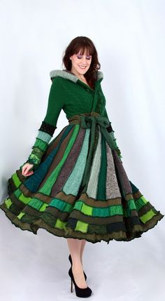 Magical Green Recycled Sweater Coat by EnlightenedPlatypus on Etsy...