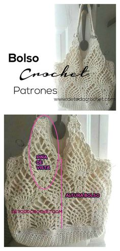 Pineapple Stitch Bag Free Crochet Diagram #crochetbag  #diagram #pineapple