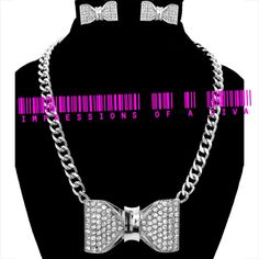 PAVE BOW CRYSTAL NECKLACE, STUD EARRING AND CHAIN LINK BRACELET SET*ALL 3 ITEMS INCLUDED*