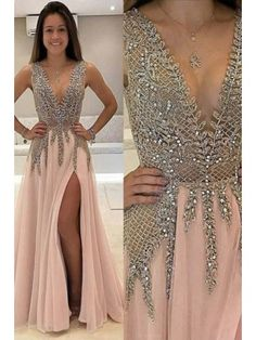 Sale Light Prom Dresses 2018 Deep V-Neck Sweep Train Sleeveless Pink Tulle Prom Dress With Beading