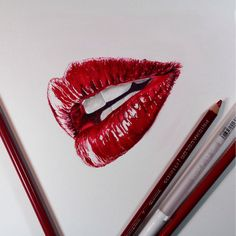 paint, red, lips, lipstick, glossy, art, pencils, retro