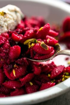 Recipe: Cavatelli with brown butter beets, ricotta and pistachios || Photo: Andrew Scrivani for The New York Times
