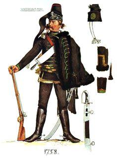 SOLDIERS- Menzel: SYW- Prussia: Prussian Husaren-Regiment von Belling No 8, by Adolph Menzel.
