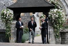 Spencer Matthews, center, stands at the entrance of St Mark's Church - Credit: AP Photo/Kirsty Wigglesworth, Pool Pippa Middleton Honeymoon, Pippa Middleton Wedding, Middleton Family, Pippas Wedding, Wedding Of The Year, Sister Wedding, James Matthews, Man And Wife, Slick Hairstyles