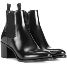 Church's Shirley Glossed-Leather Ankle Boots ($610) ❤ liked on Polyvore featuring shoes, boots, ankle booties, black, black bootie, leather ankle boots, black leather booties, ankle boots and black boots