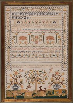 The original of this sampler was done by 11-year-old Mary Starker of Newbury, New England in 1760.