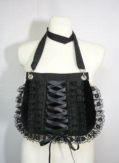 Gothic Corset Bag with Lace  Ruffle, Gothic Lolita, Harajuku Purse, Black, Small Velvet Bag, Shoulder Bag, Dark, Vampire Girl Clutch on Etsy, $38.00