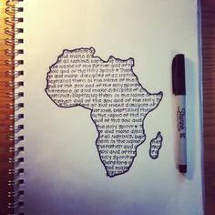Classy Words In African Map Tattoo Map Tattoos, Cool Tattoos, Tribal Tattoos, Afrika Tattoos, African Map, African Prints, Afrique Art, Graffiti, Matthew 28