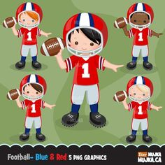 Etsy :: Your place to buy and sell all things handmade Cute Football Players, Football Boys, Sports Clips, Sports Graphics, Boy Character, Digital Stamps, Clipart, Planner Stickers, Etsy