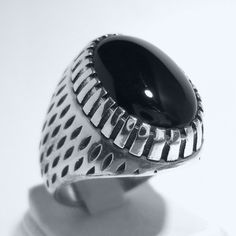 925 Sterling Silver Men's Ring with Black Onyx Simple &Elegant Design