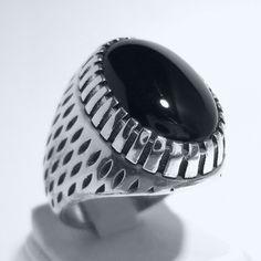 925 Sterling Silver Men's Ring with Black Onyx Simple &Elegant Design