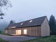 Haus am Moor is a minimalist house located in Krumbach, Austria, designed by Bernardo Bader Architects. Within the private forest of Schwarzenberg, the wood was selected, felled, cut, and installed. An overall of 60 spruces, firs and elms were used for construction panels, doors, floor structure and floor boards. (3)