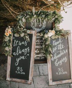 chalkboard signage wedding calligraphy
