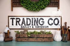 """Hand Painted Sign, Wooden With Trim, 36""""x9"""" TRADING CO. Sign, Black Lettering, Vintage Inspired, Blogger, Gallery Wall by DownGraceLane on Etsy"""