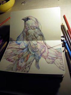 Bird. Art journal sketchbook.