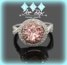 Peach Pink Moissanite Engagement Ring 1ct, 6.5mm Round Peach Pink Moissanite in a 14k White and Rose Gold Diamond Halo Twist Shank Setting