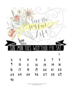June 2013 calendar from http://www.mandipidy.com/2013/05/free-printable-june-2013-calendar.html