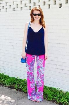 @mackenziehoran shares her National Wear Your Lilly Day look. Featuring our Lilly Pulitzer Georgia May Palazzo pants. Via Instagram.