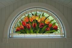 tulips in eyebrow window