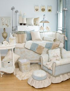 I love this nursery from Glenna Jean - the toile fabric is so beautiful