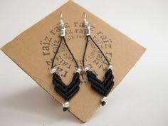 Geometric Chevron Earrings - Black Macramé Earrings - Hypoallergenic. $22.00, via Etsy.