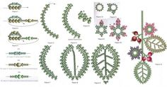 Flower lariant scheme - need Beads green number № 10 and 8 color number three shades - green beads three colors - crimson beads number 12 two colors - crimson beads mm in several colors - monofilament thread - beading needle number 12 Free Beading Tutorials, Beading Projects, Seed Bead Jewelry, Bead Jewellery, Jewelry Patterns, Beading Patterns, French Beaded Flowers, Beading Techniques, Bijoux Diy