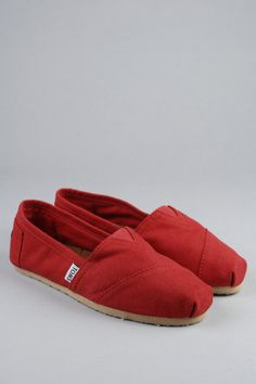 TOMS Shoes  red, cotton Canvas classic