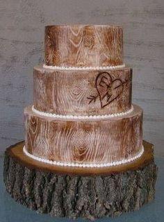 Wedding Cake of the Day: Rustic Wood Cake . Wood cake not cookie! Wood Wedding Cakes, Fall Wedding Cakes, Wedding Cake Rustic, Wedding Ideas, Rustic Weddings, Rustic Cake, Indian Weddings, Country Wedding Cakes, Country Weddings