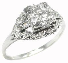 1920s 1.15ct Old Mine Cut Diamond Platinum Engagement Ring