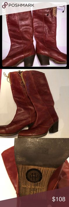 Anthropologie Holding Horses red leather boot 37 Anthropologie Holding Horses red leather boot 37. High lace up.  Gorgeous. Anthropologie Shoes Lace Up Boots