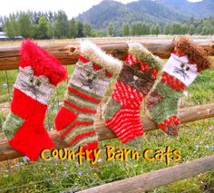 Country Barn Cats Hand Knit Christmas Stockings Set of Four