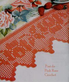 Pink Rose Crochet: Barrado Rosa Rainha em Crochê Filê