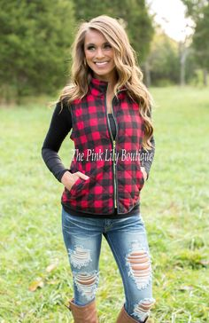 The Pink Lily Boutique - Lumberjack Red Plaid Vest , $44.00 (http://thepinklilyboutique.com/lumberjack-red-plaid-vest/)