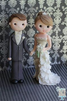 Wedding Cake Toppers. I like making them with Fondant because you can personalize them.