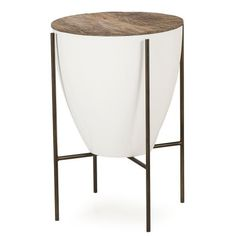 Side Table 17'' Diameter - Peroba/leather/metal  Materials: Peroba solids + Lacquer Case + Steel Base