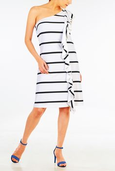 A soft ruffle cascades down the front side seam of our one-shoulder dress in a stripe jersey and a removable sash tie for a curve-accentuating fit.