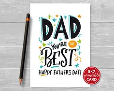 Fathers Day Card - Printable Card For Dad - Dad You're The Best Happy Fathers Day - included printable envelope template Fathers Day Letters, Happy Fathers Day Cards, Happy Father Day Quotes, Fathers Day Crafts, Happy Birthday Dad, Dad Birthday Card, Father Birthday, Diy Father's Day Cards, Fathers Day Coloring Page