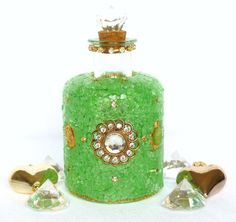 Mosaik Flasche Glasmosaik greenery gold Glasflasche Boho