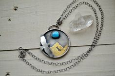 Silver turquoise necklace mountain necklace by BLUEskyBLACKbird