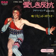 "soundsof71: David Bowie, 1974 Japanese single of ""Rebel Rebel"" from Diamond Dogs, with 1971's ""Queen Bitch"" from Hunky Dory on the b-side. Japanese singles rule."