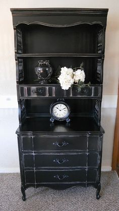Black Distressed French Provincial Hutch and Dresser