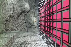 Peter Kogler @ ING Art Center #ingnext Exhibition Display, Exhibition Space, Peter Kogler, Light And Space, Belgium, Contemporary Art, Museum, Graphic Design, Architecture